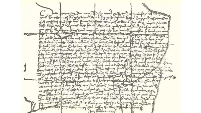 Der Brief an die Berner vom 4. Dezember 1481, das politische Vermächtnis des Ranfteremiten. Der Brief wird heute im Staatsarchiv in Solothurn aufbewahrt.