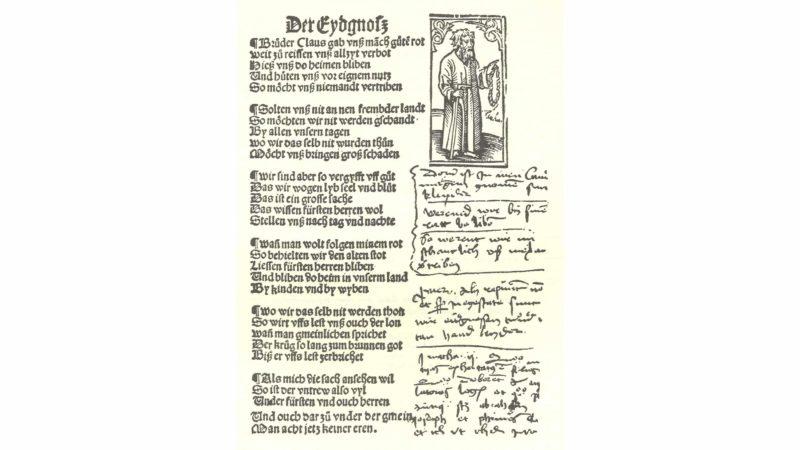 Pamphilius Gengenbach erinnert an die Räte Bruder Klausens (1514). (Scan: Roland Gröbli)