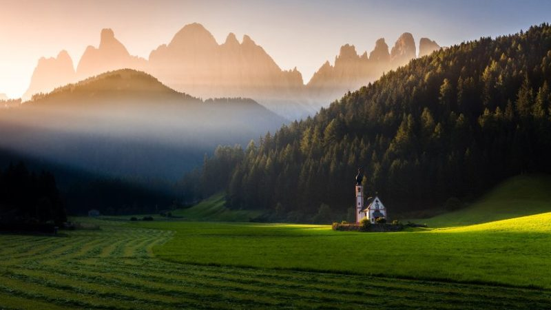 Light from above / Svetlo zhoraThe picture «Light from above» was taken in September 2016 in Santa Maddalena, Dolomiten, Italy. Beautiful light and humidity stood behind the nice play of light and shadows that morning. I was waiting as the small church was illuminated by the very first rays of Sun.