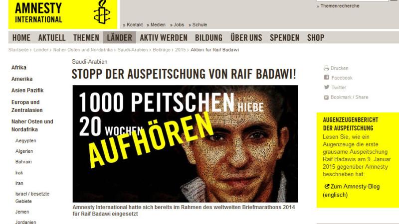 Protest gegen Auspeitschung von Raif Badawi   © printscreen Amnesty International Schweiz (16.1.15)