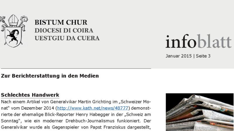 «Infoblatt» des Bistums Chur erschien im Janaur 2015 erstmals | © screenshot Bistum Chur