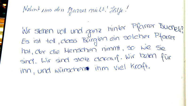 Solidaritätsbuch für Wendelin Bucheli, Pfarrer in Bürglen UR| © 2015 kath.ch