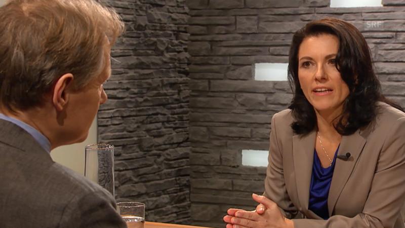 Sternstunde-Moderatorin Amira Hafner Al-Jabaji im Gespräch mit Religionswissenschaftler Martin Baumann. | © 2015 Screenshot srf