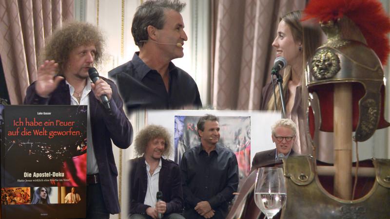 Buchvernissage Fotomontage mit Regisseur Luke Gasser, Moderator René Rindlisbacher und Schauspielerin Julia Mead | © 2015 Jean Merrouche