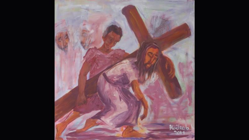3 Kreuzwegstation «Simon hilft Jesus das Kreuz tragen» Haileab Kebreab   © 2015 Linus Oberholzer