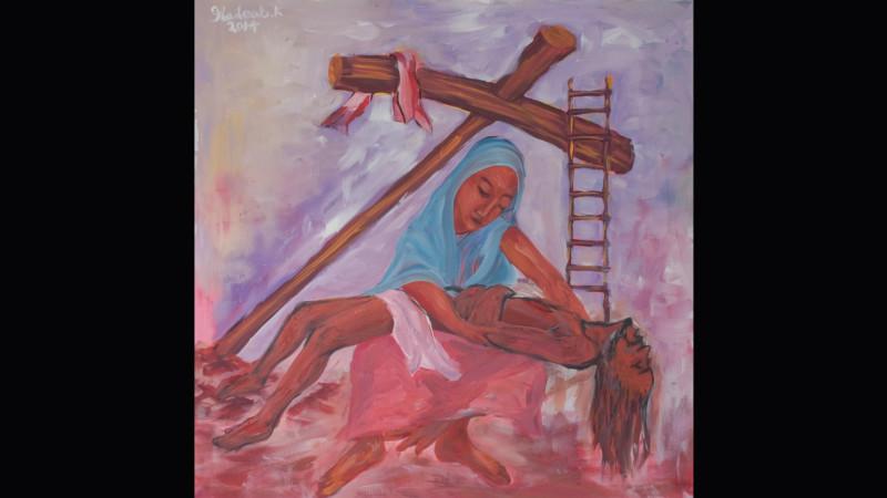 6 Kreuzwegstation «Jesus wird in den Schoss seiner Mutter gelegt» Haileab Kebreab   © 2015 Linus Oberholzer