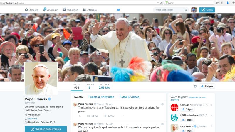 Twitter Profil Papst Franzikus @pontifex | © 2015 kath.ch