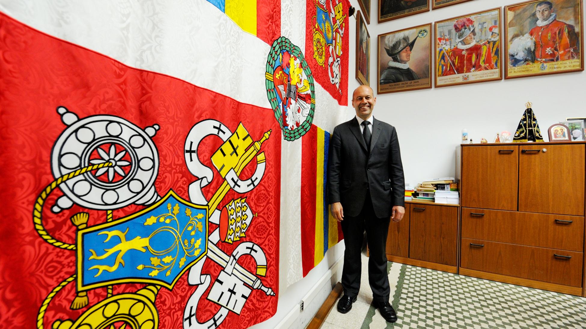 Weihe der neuen fahne des korps der p pstlichen for Spiegel und fahne