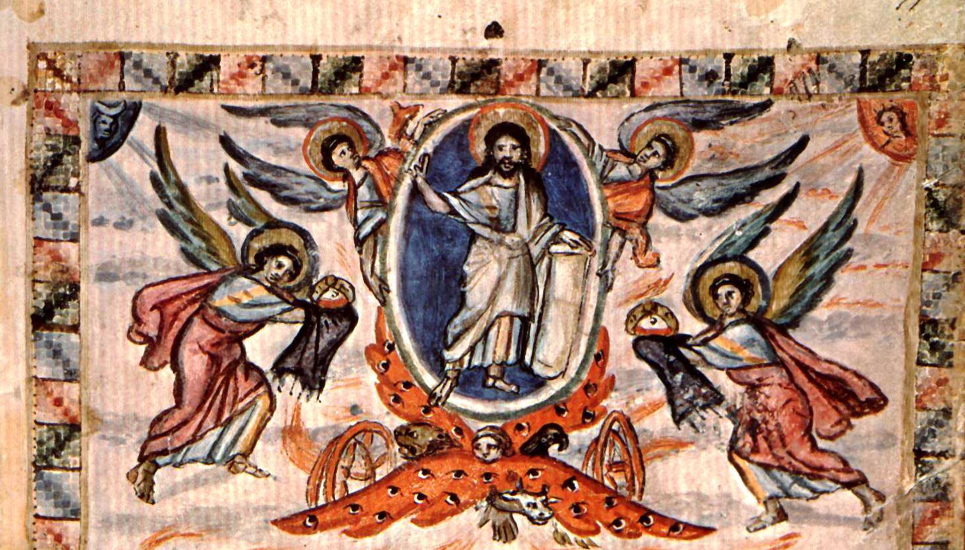 Darstellung von Christi Himmelfahrt im Rabbula-Evangeliar, 6. Jh.