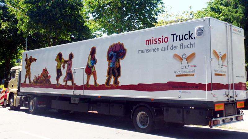 Der «Flucht-Truck» des katholischen Hilfswerks Missio   © Missio