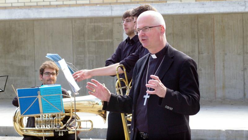 Bischof Charles Morerod an einem Anlass der Franziskaner in Freiburg | © 2014 Georges Scherrer