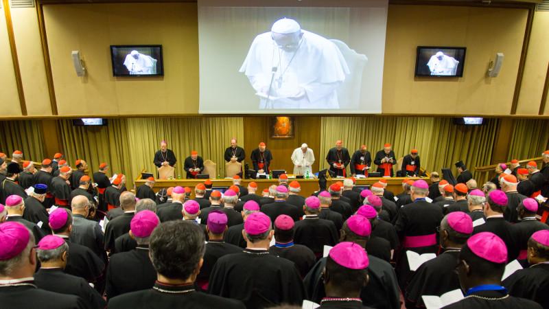 Bischofssynode und Papst im Gebet | © 2015 Andrea Krogman