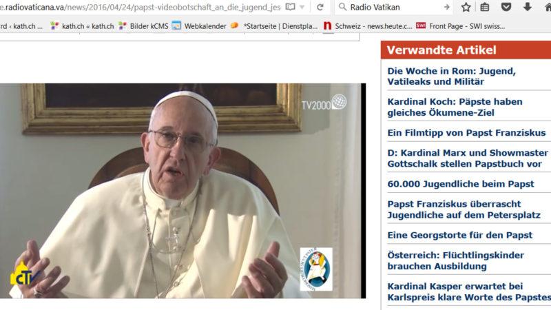 Videobotschaft von Papst Franziskus | © screenshot Radio Vatikan