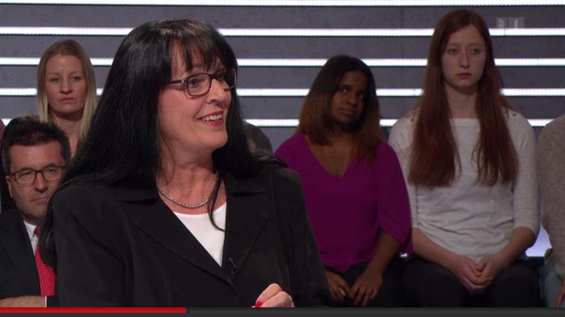 Marianne Streiff-Feller in der Arena-Sendung vom 29.4.16 | © 2016 Screenshot SRF