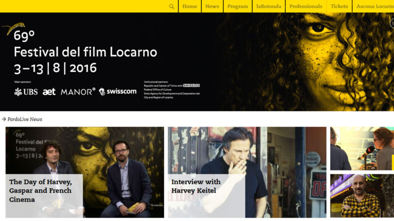 Seite des Filmfestivals Locarno | Screenshot