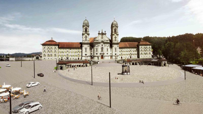 Visualisierung der Neugestaltung von Haupt- und Klosterplatz in Einsiedeln | © Total Real