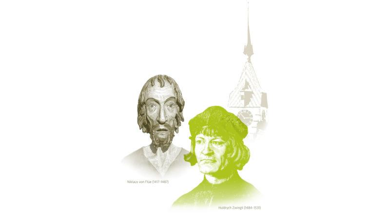 Niklaus von Flüe, Huldrych Zwingli und der Zytturm von Zug | © zVg