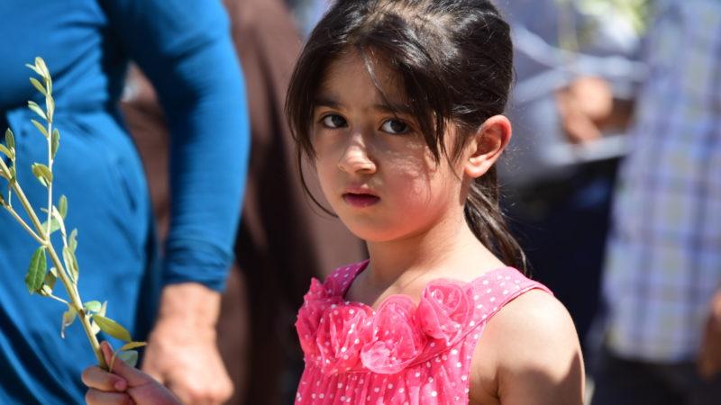 Irakisch-christliches Flüchtlingskind mit Palmzweig | © Kirche in Not