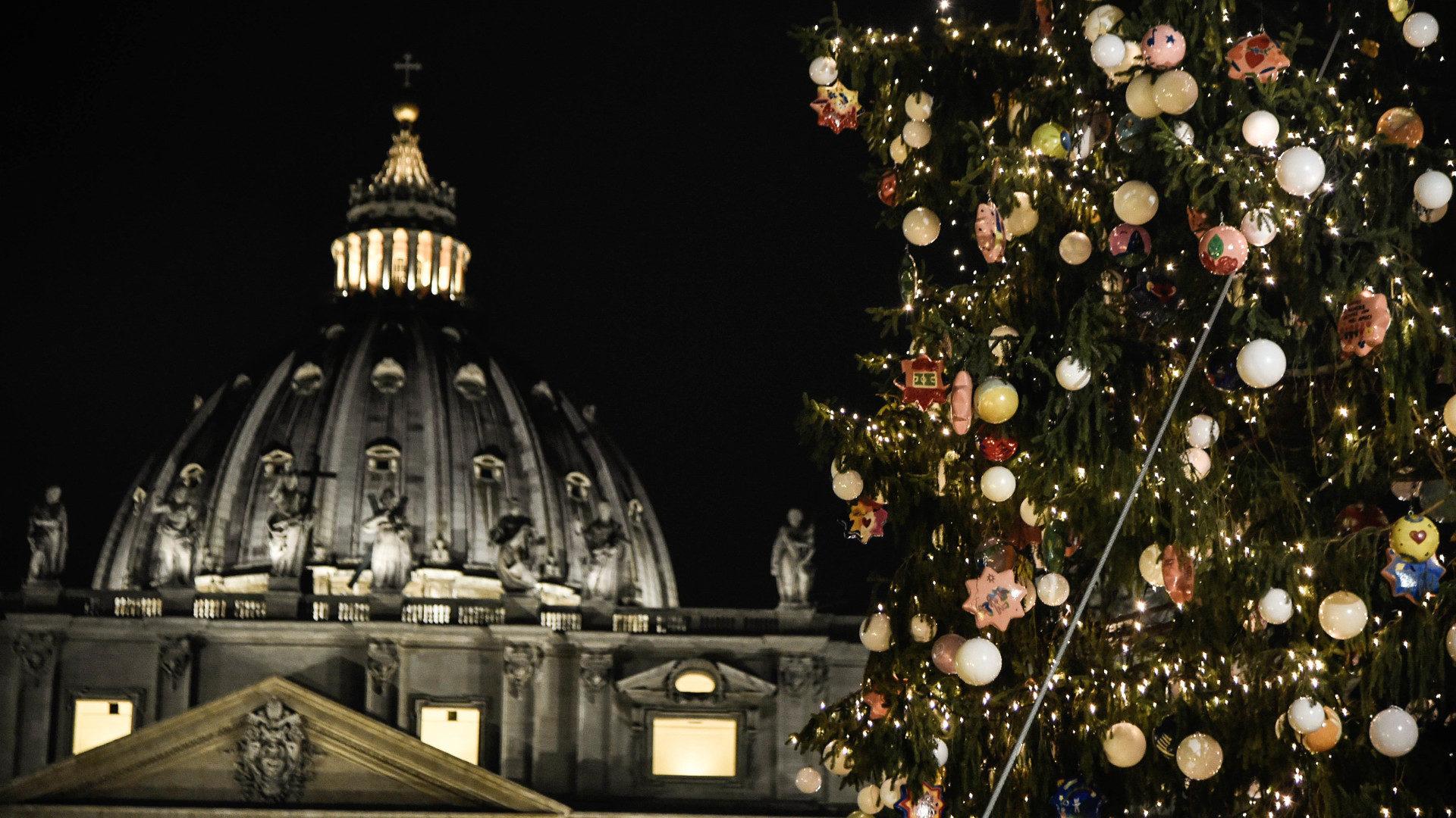Weihnachtsbaum vor dem Petersdom | © KNA