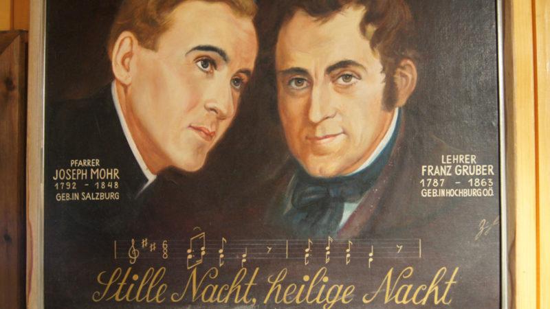 Joseph Mohr und Franz Xaver Gruber auf einem Gemälde. | © KNA