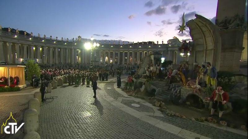 Einweihung Weihnachtsdekoration auf Petersplatz | © screenshot youtube.com The Vatican