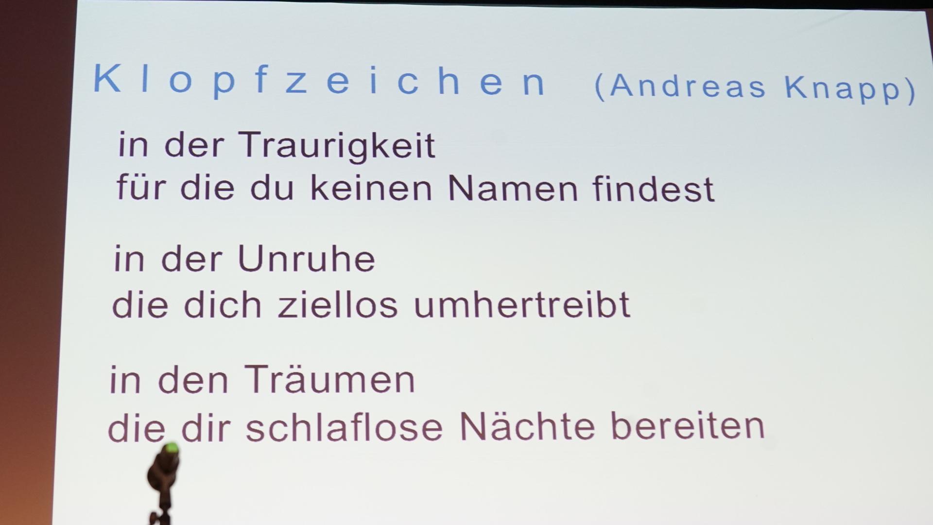 Gedicht von Andreas Knapp | © Vera Rüttimann