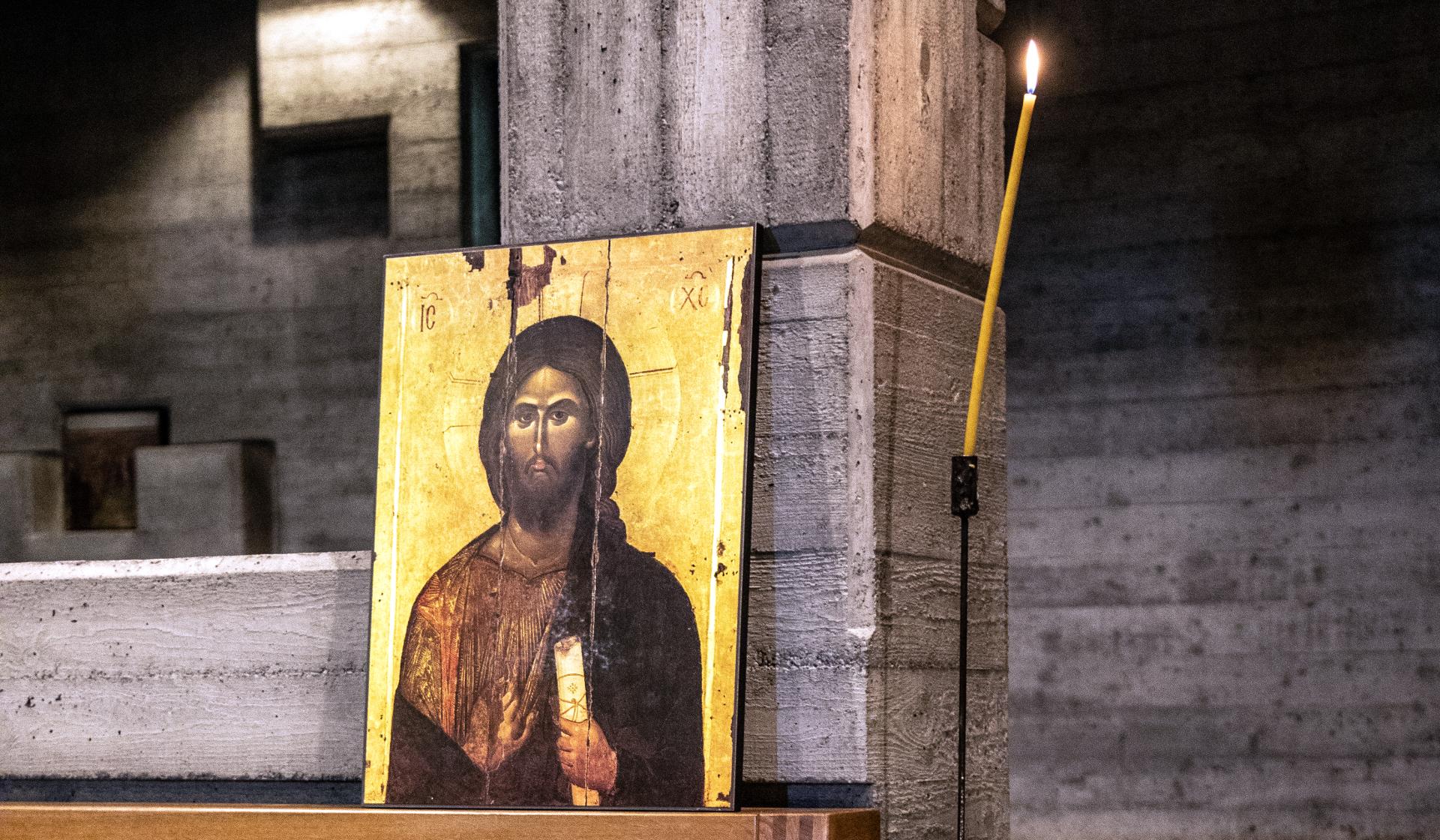 Christus Ikone in der Berner Kirche Grossmärtyrer Georg | © Pia Neuenschwander/