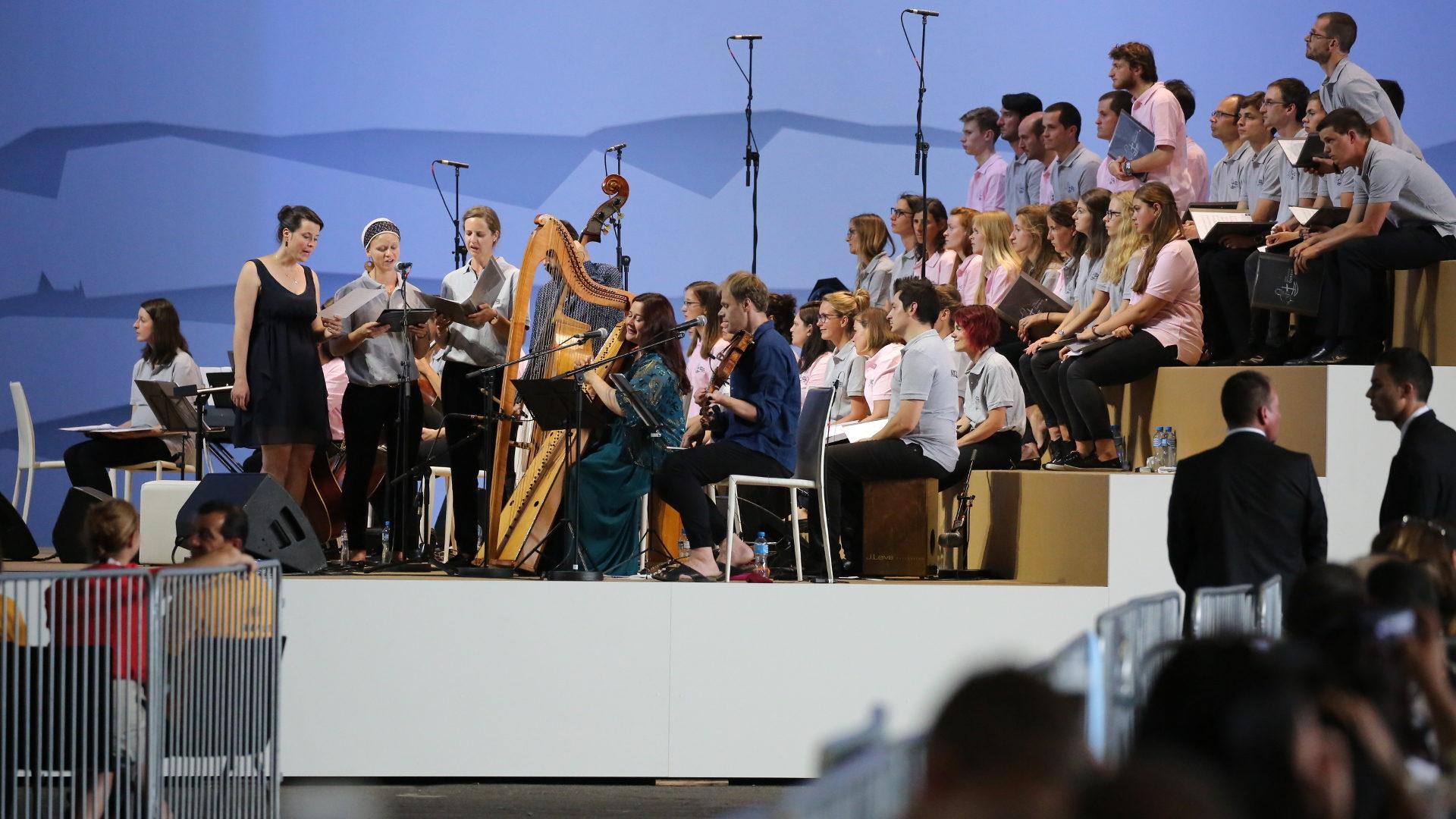 Musiker an der Papstmesse in der Palexpo Genf | © Bernard Hallet