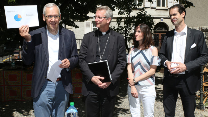 Bernard Litzler, Alain de Raemy, Aline Bachofner und Emmanuel Tagnard (v.li.)  | © Bernhard Hallet cath.ch