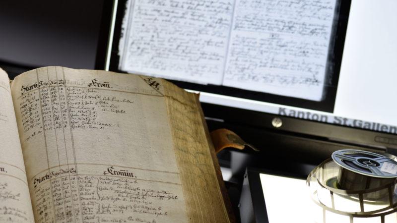 Kirchenbuch, Original und online. | © Staatsarchiv St. Gallen