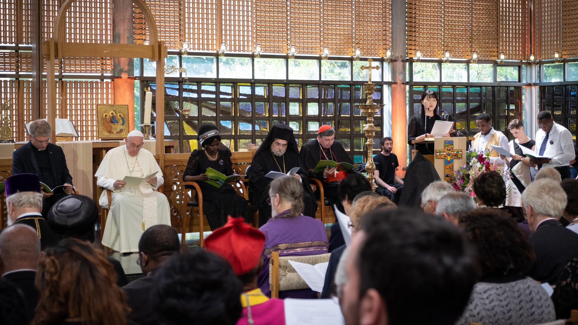 Olav Fykse Tveit, Papst Franziskus, Agnes Abuom, Gennadios Limouris, Kurt Koch (von links) | © Magnus Aronson WCC