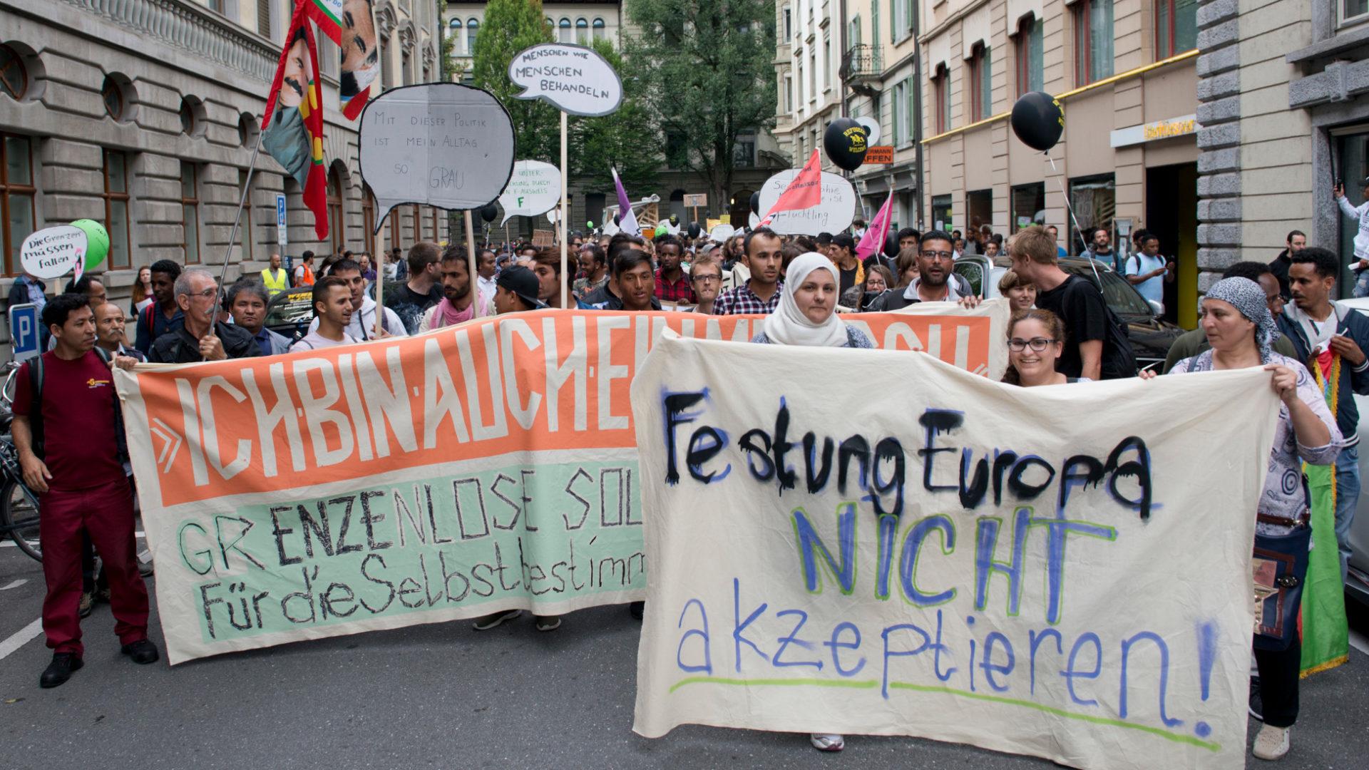 Demonstration für die Rechte von Flüchtlingen, Solinetz Luzern    © Kezia Zurbrügg