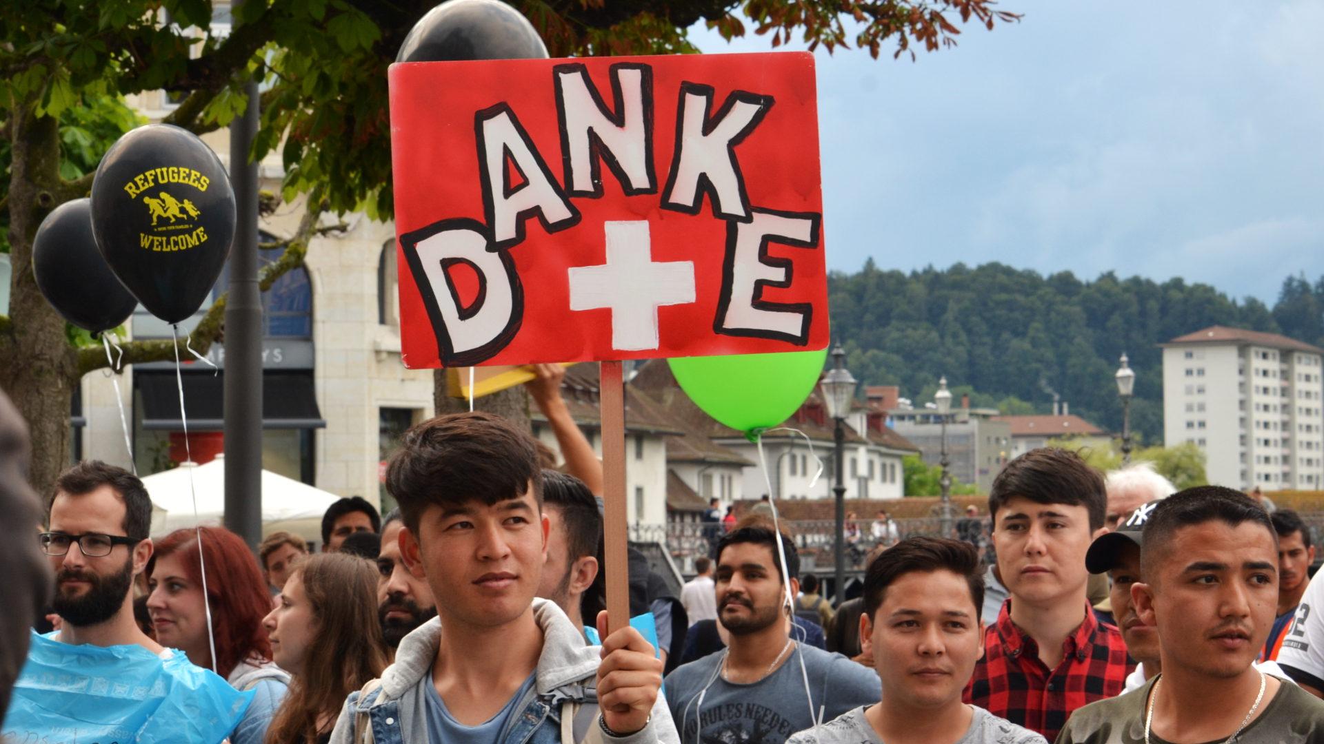 Demonstration für die Rechte von Flüchtlingen, Solinetz Luzern   © Sylvia Stam