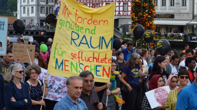 Demonstration für die Rechte von Flüchtlingen, Solinetz Luzern | © Sylvia Stam