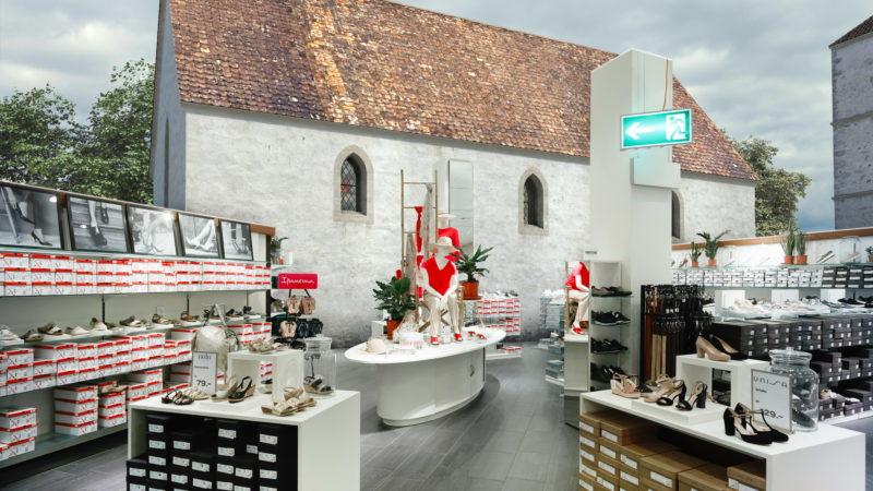 Die Stephanskirche stünde heute im Schuhgeschäft St. Annahof, Zürich | © Amt für Städtebau Zürich