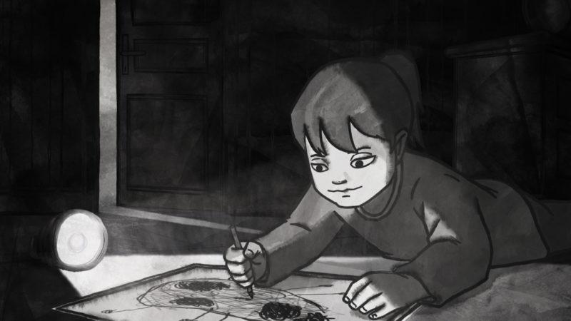 «Chris the Swiss»: Die kleine Anja, Cousine des Protagonisten, beim Zeichnen | @ First Hand Films/Anja Kofmel