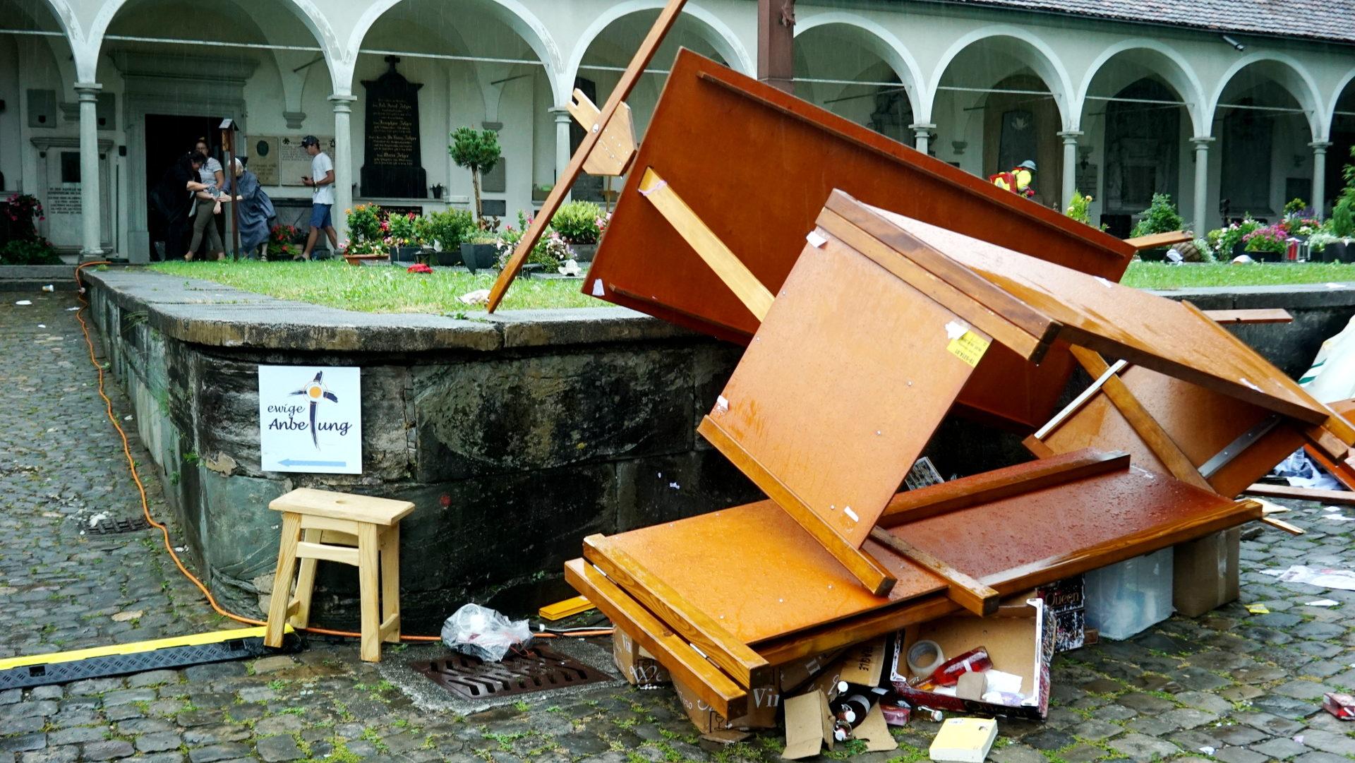 Das WJT-Gelände bei der Luzerner Hofkirche nach dem Sturm | © Vera Rüttimann