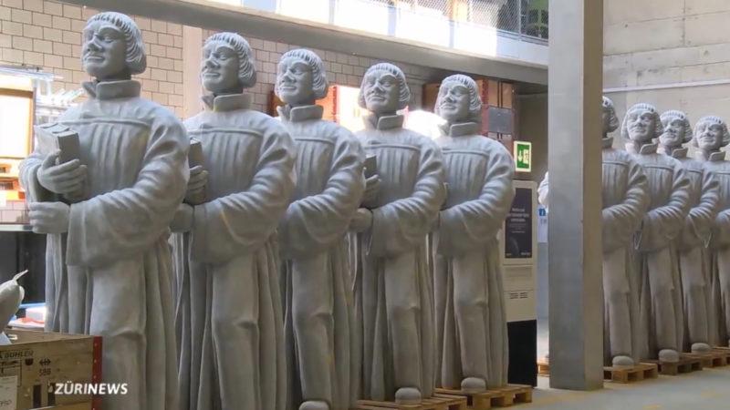 15 Zwingli-Statuen werden bis November in Zürich stehen. | © Screenshot Telezüri