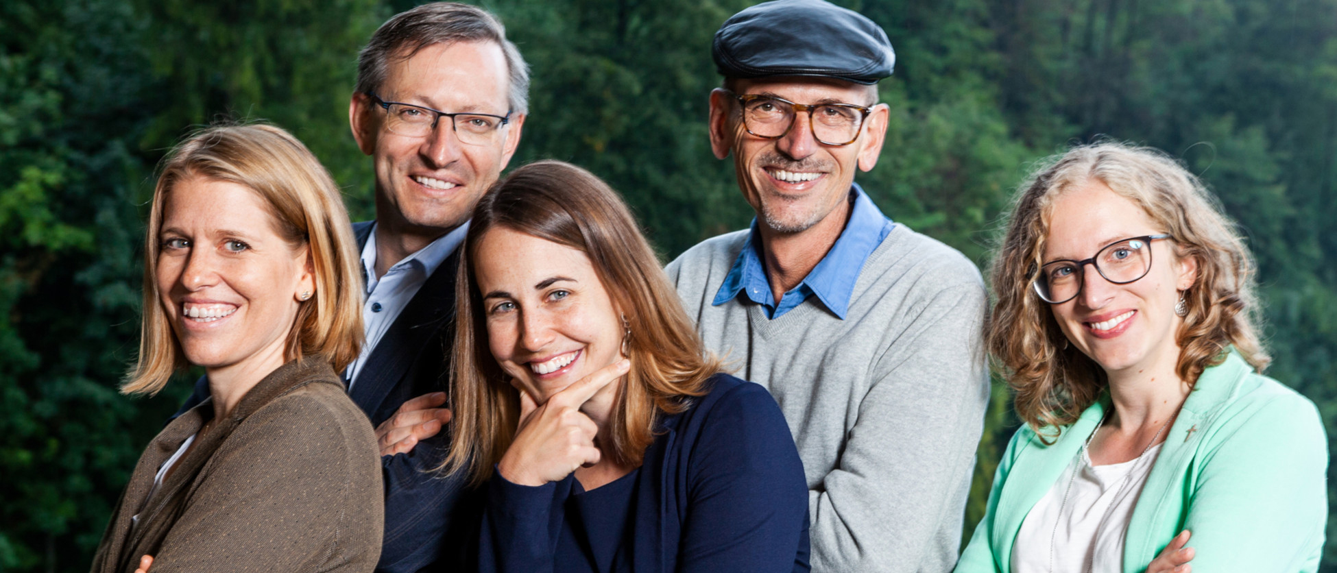 Neu beim «Wort zum Sonntag»: v.l. Nathalie Dürmüller, Urs Corradini, Veronika Jehle, Simon Gebs und Antje Kirchhofer