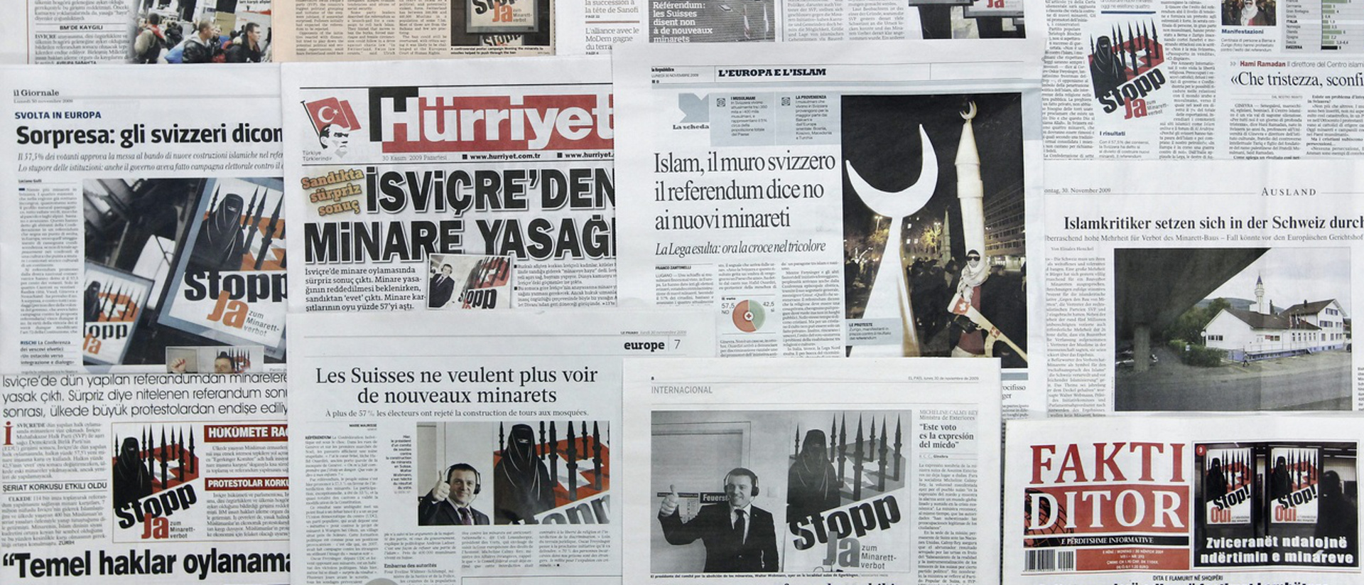 Internationale Zeitungen berichten über das Abstimmungsergebnis der Anti-Minarett Initiative 2009.