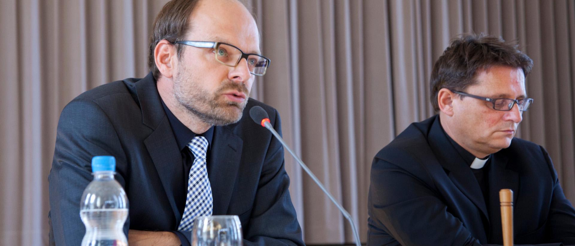 Luc Humbel, Präsident der Römisch-Katholischen Zentralkonferenz der Schweiz (RKZ) und Kirchenratspräsident der Römisch-Katholischen Landeskirche im Aargau und Bischof Felix Gmür