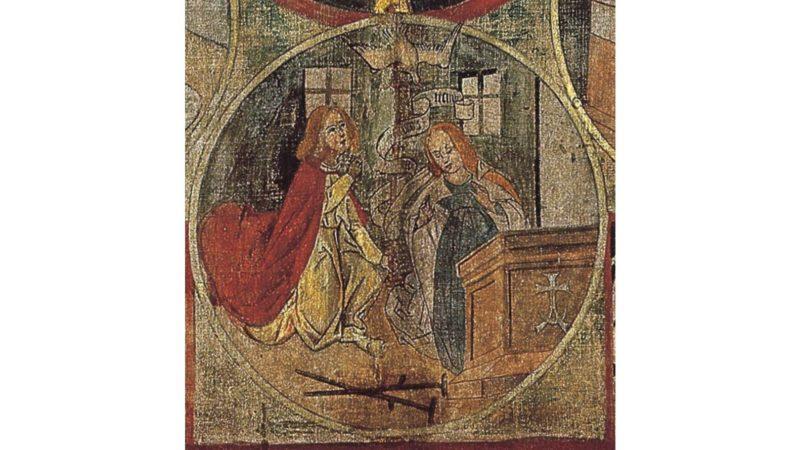 Verkündigungs-Medaillon im Betrachtungsbild des Bruder Klaus. (www.bruderklaus.com)