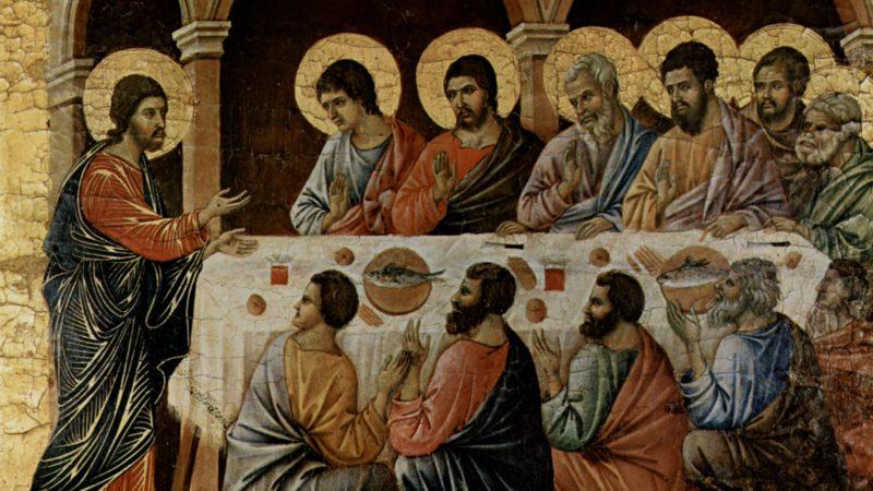 Der Auferstandene isst Fisch. Duccio die Buoninsegna, Erscheinung Christi beim Abendmahl der Apostel