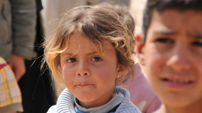 Enfants dans le camp de réfugiés de Zaatari, au nord de la Jordanie (photo Maurice Page 2014)