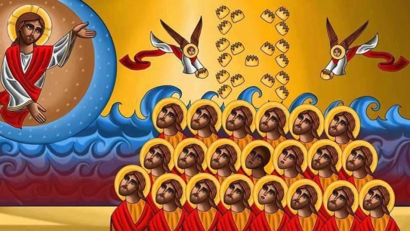 Icône représentant les 21 coptes martyrisés en Libye par les terroristes de Daech, 'l'Etat islamiquie' le 15 février 2015