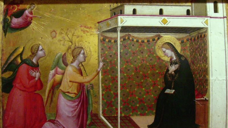 La Solennité de l'Annonciation commémore l'annonce faite à Marie de sa maternité divine (Bernardo Daddi, c1335)
