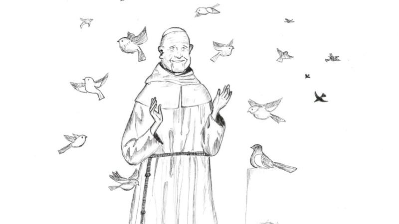 Le pape François appelle au respect de toutes créatures (Dessin: Raphaël Zbinden)