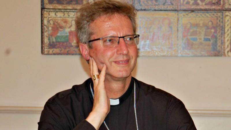 Mgr Alain de Raemy, évêque des médias au sein de la Conférence des évêques suisses lors de l'assemblée générale de Kipa-Apic à Olten (Photo: Jacques Berset)