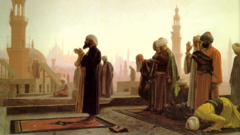Un imam dirige la prière des musulmans au Caire. Toile de Jean-Léon Gérôme 1865. (domaine public)