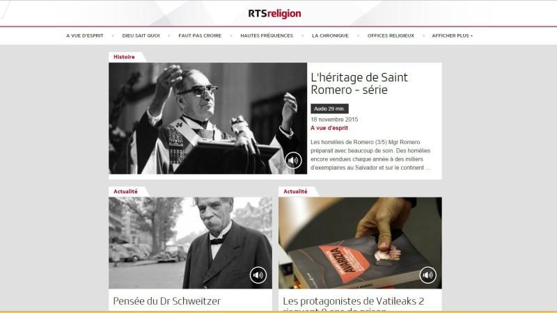 Le site RTSreligion. (Photo: Capture-écran)